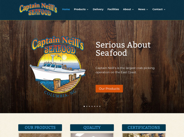 Captain Neill's Seafood Website Screenshot