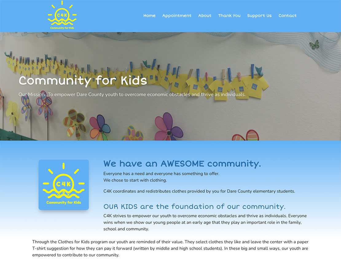 community for kids website screenshot c4k obx